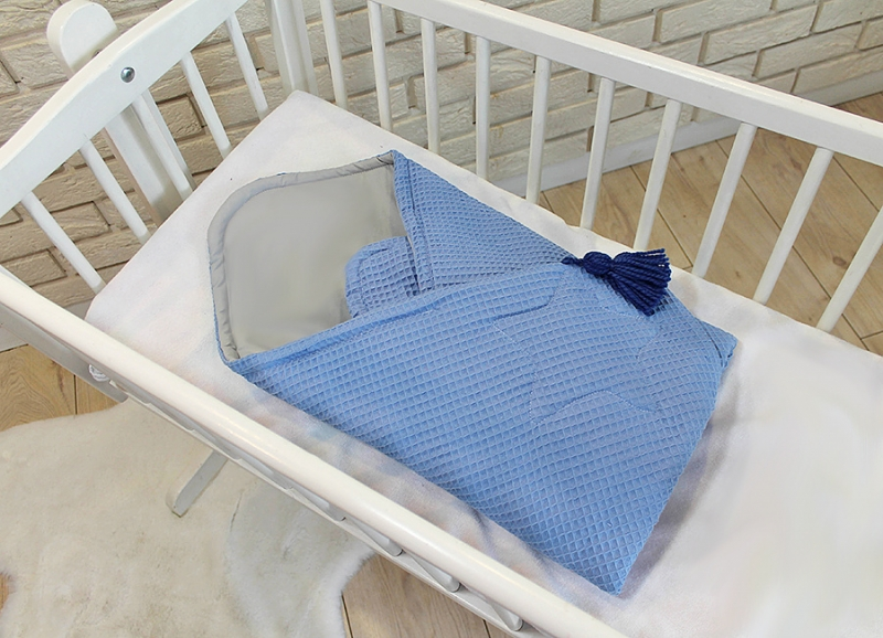 Baby Nellys Luxusní zavinovačka vaflová Star - 75 x 75cm - modrá