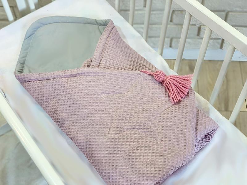Baby Nellys Luxusní zavinovačka vaflová Star - 75 x 75cm - růžová