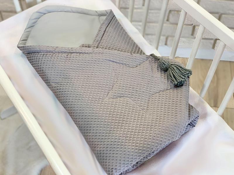 Baby Nellys Luxusní zavinovačka vaflová Star - 75 x 75cm - šedá
