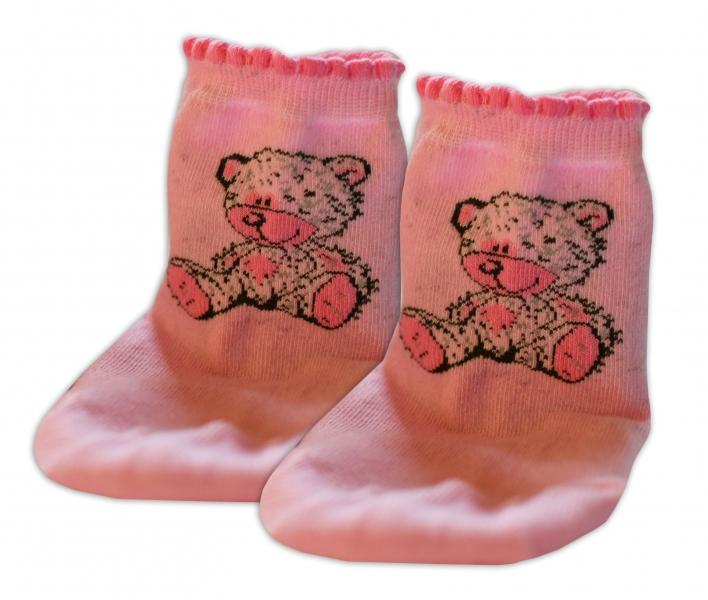 Baby Nellys Bavlněné ponožky Teddy - světle růžové, vel. 17-18cm