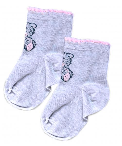 Baby Nellys Bavlněné ponožky Teddy - modrý melírek, vel. 15-16cm