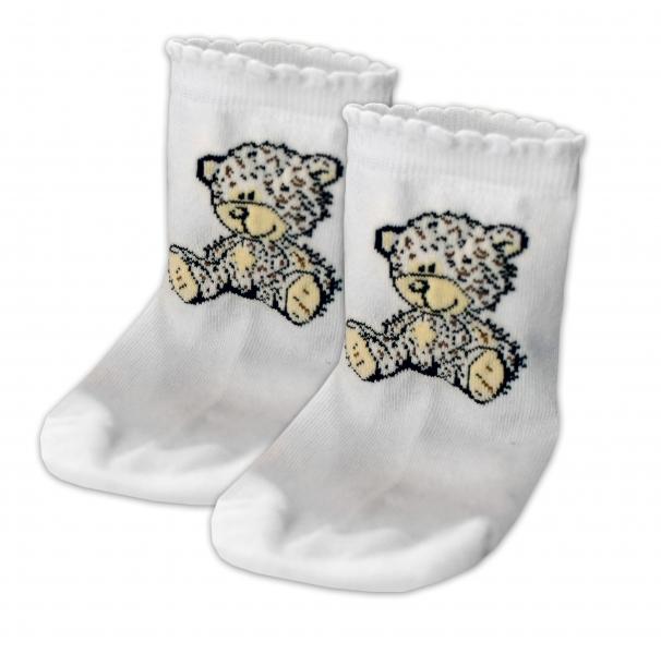 Baby Nellys Bavlněné ponožky Teddy - bílé, vel. 17-18cm