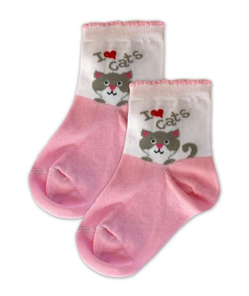 Baby Nellys Bavlněné ponožky I love cats - růžovo/bílé, vel. 17-18cm