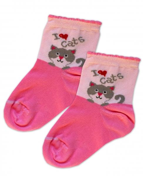Baby Nellys Bavlněné ponožky I love cats - růžovo/sv. růžové, vel. 15-16cm
