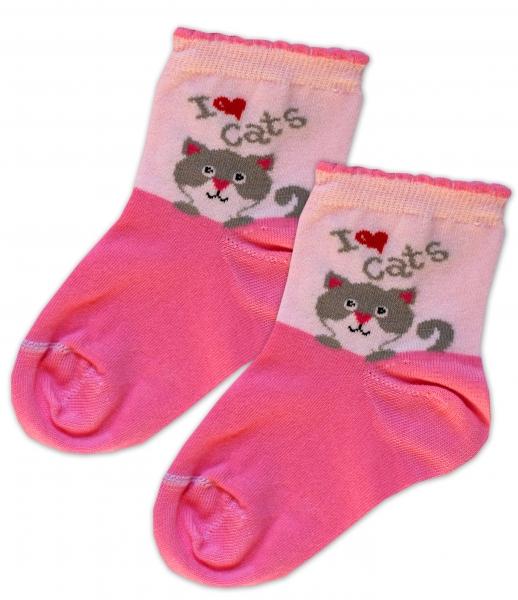 Baby Nellys Bavlněné ponožky I love cats - růžovo/sv. růžové, vel. 17-18cm