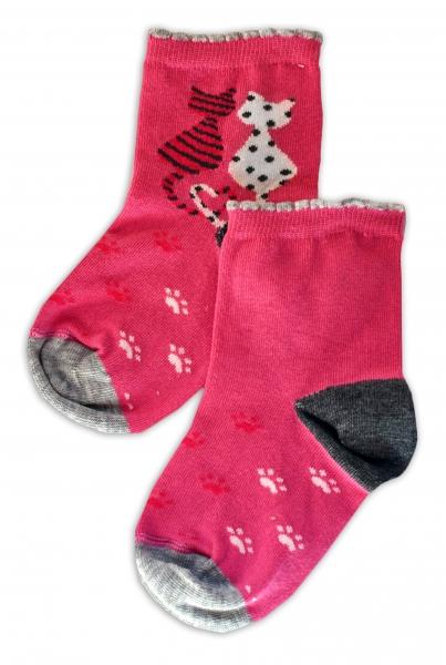 Baby Nellys Bavlněné ponožky Kočičky - růžové, vel. 15-16cm