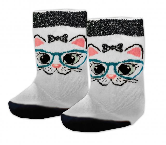 Baby Nellys Bavlněné ponožky Kočka s brýlemi - bílé, vel. 17-18cm