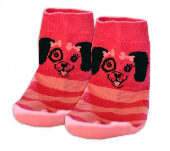 Baby Nellys Bavlněné ponožky Pejsek mašlička - růžové, vel. 15-16cm