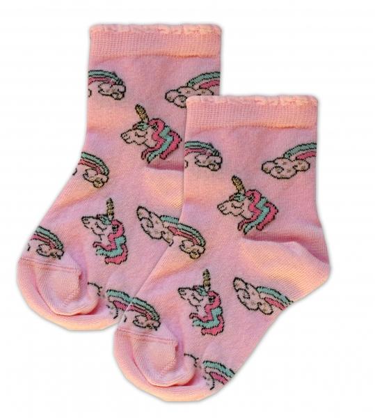 Baby Nellys Bavlněné ponožky Jednorožci - růžové
