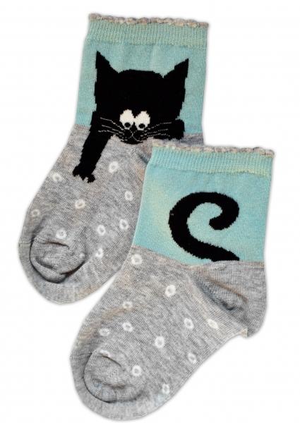 Baby Nellys Bavlněné ponožky Kocour - šedo/mátové, vel. 17-18cm