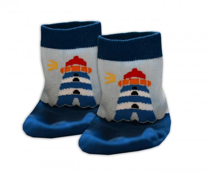 Baby Nellys Bavlněné ponožky Maják - modré/sv.modré, vel. 15-16cm