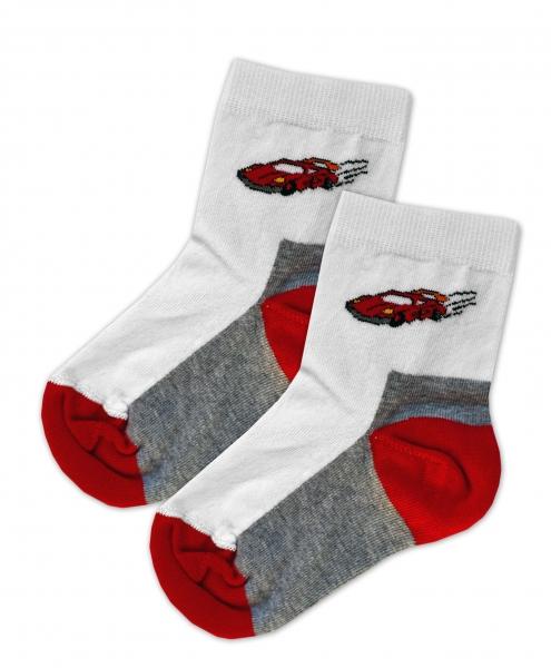 Baby Nellys Bavlněné ponožky Závoďák - červeno/bílé