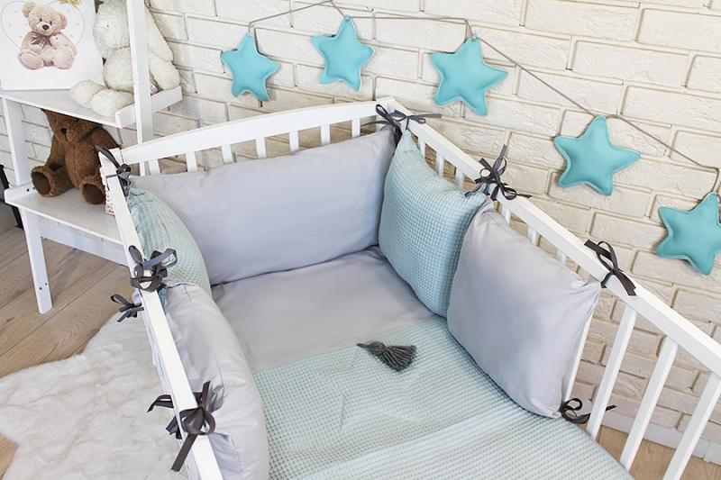 Baby Nellys Sada polštářkový mantinel Vafel s povlečením - mátová, šedá, 135 x 100 cm