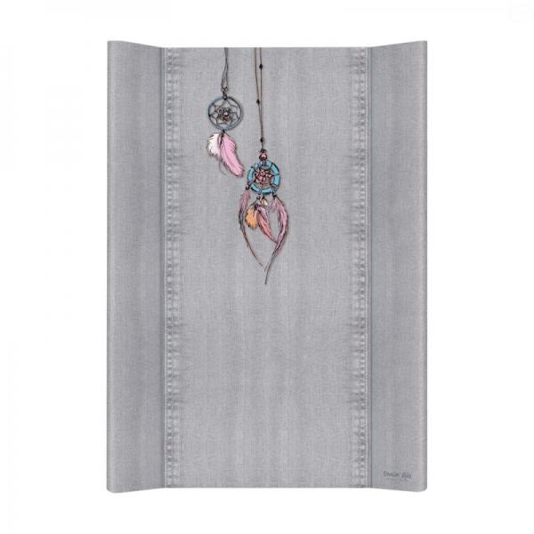 Přebalovací podložka Ceba, tvrdá - na postýlku 120x60 cm, Denim Catcher - šedá, 50x70cm