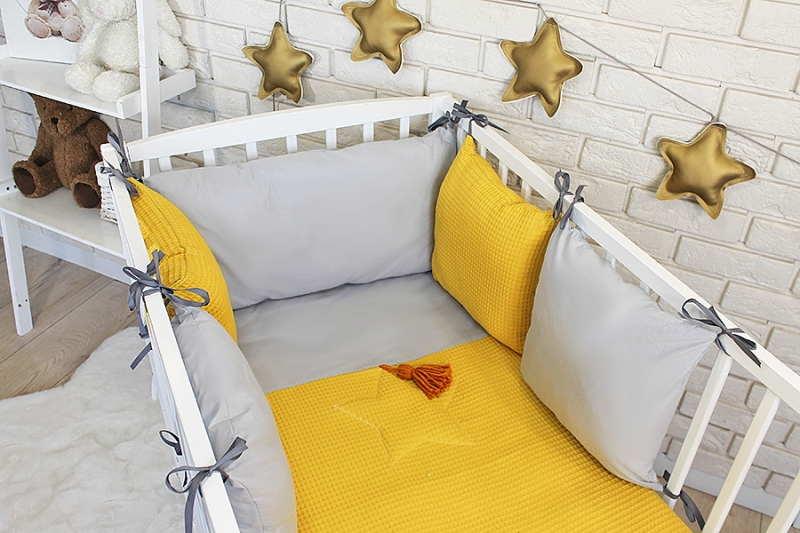 Baby Nellys Sada polštářkový mantinel Vafel s povlečením - hořčicová, šedá, 135 x 100 cm