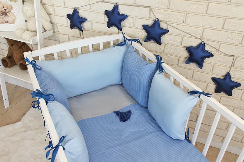 Baby Nellys Sada polštářkový mantinel Vafel s povlečením - modrá, 135 x 100 cm