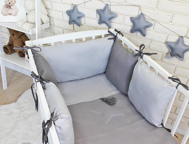Baby Nellys Sada polštářkový mantinel Vafel s povlečením - šedá, 135 x 100 cm