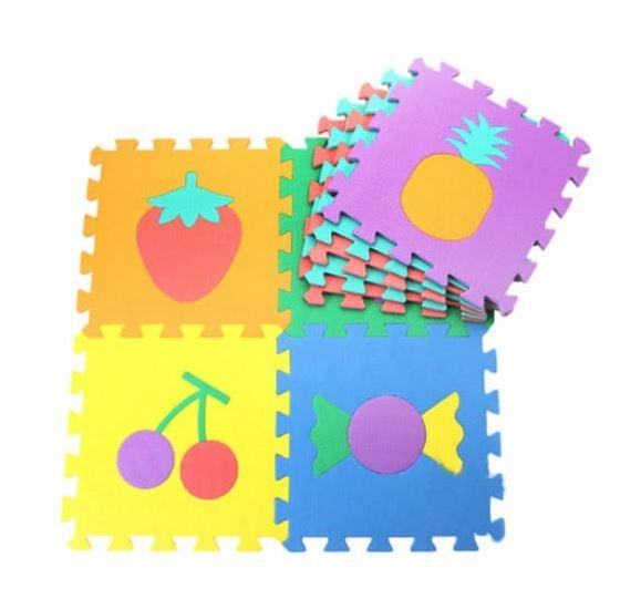 Pěnové puzzle zvířátka, 10 ks, 29 x 29 x 0,9 cm - ovoce