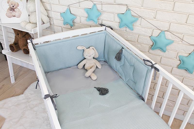 Baby Nellys 3 dílná sada Mantinel s povlečením vafelek - mátová, 135 x 100 cm