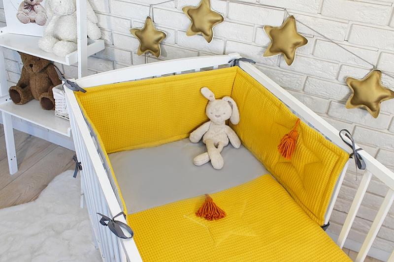 Baby Nellys 3 dílná sada Mantinel s povlečením vafelek - hořčicová, 135 x 100 cm