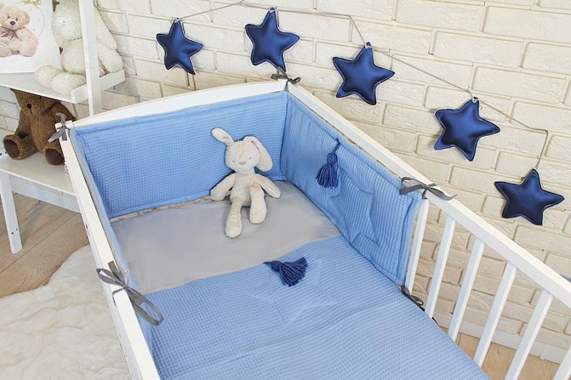 Baby Nellys 3 dílná sada Mantinel s povlečením vafelek - modrá, 135 x 100 cm