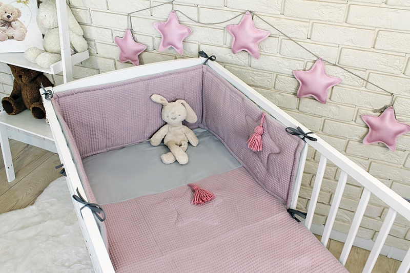 Baby Nellys 3 dílná sada Mantinel s povlečením vafelek - růžová