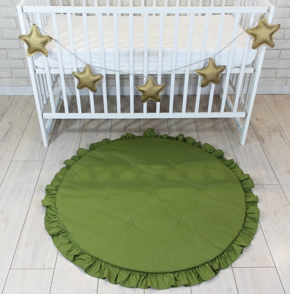 Baby Nellys Dětská hrací podložka, kobereček s volánkem - olivová