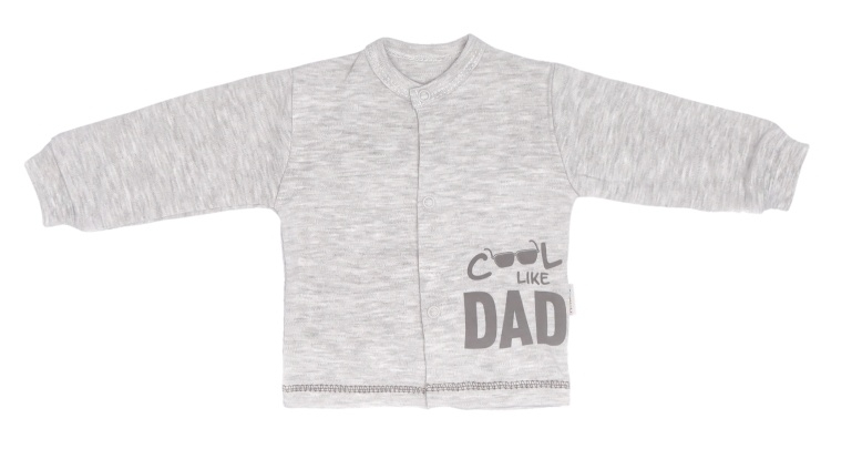 Mamatti Novozenecká bavlněná košilka, kabátek Cool - šedá, melírek