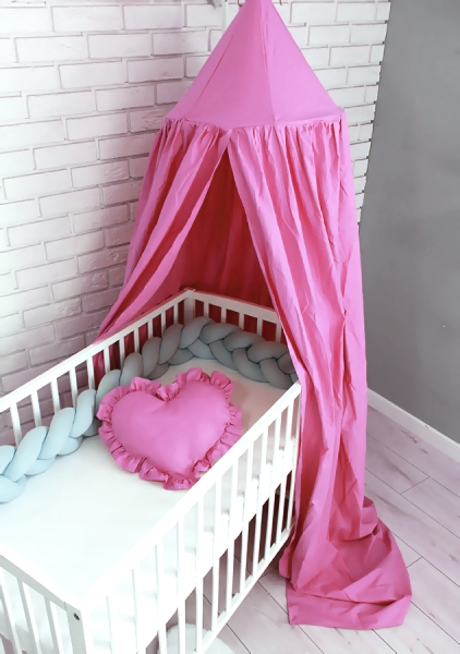 Baby Nellys Nebesa, závěsný stan z celé látky - světle růžová