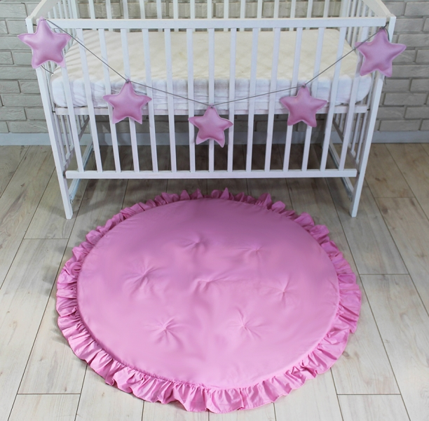 Baby Nellys Dětská hrací podložka, kobereček s volánkem - světle růžová