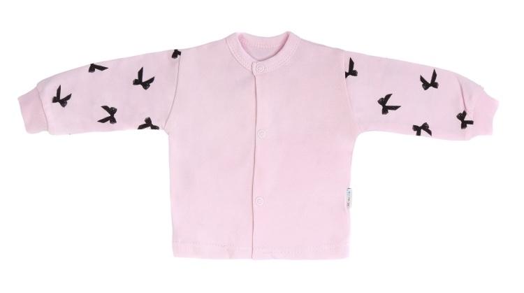 Mamatti Novozenecká bavlněná košilka, kabátek Bow - růžová, vel. 74