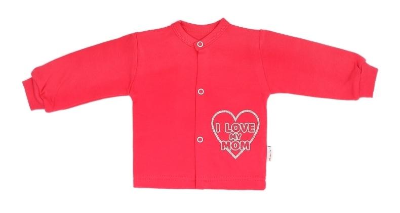 Mamatti Novozenecká bavlněná košilka, kabátek Hearts - červená, vel. 74