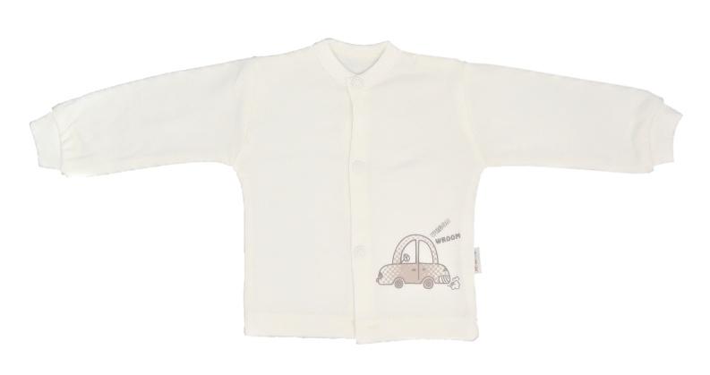 Mamatti Novozenecká bavlněná košilka, kabátek Car - smetanová, vel. 74, Velikost: 74 (6-9m)