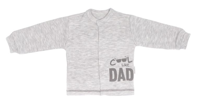 Mamatti Novozenecká bavlněná košilka, kabátek Cool - šedá, melírek, vel. 68