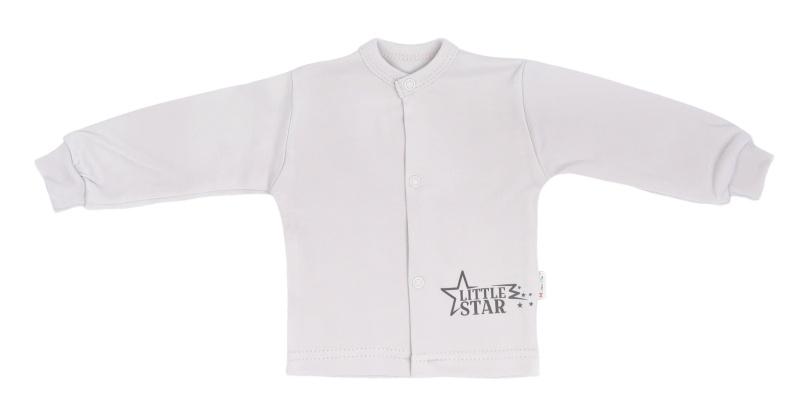 Mamatti Novozenecká bavlněná košilka, kabátek Star - šedá, vel. 62