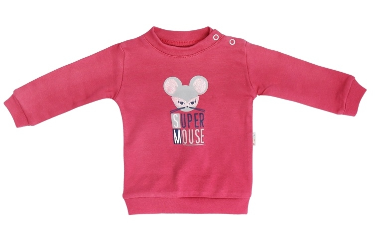 Mamatti Bavlněná dětská mikina Mouse - červená