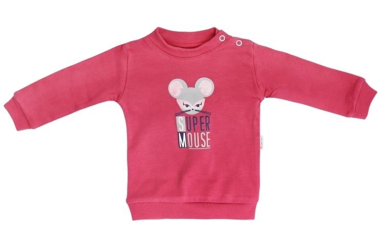 Mamatti Bavlněná dětská mikina Mouse - červená, vel. 86