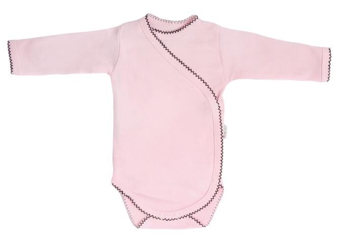 Mamatti Kojenecké body dlouhý rukáv, zapínání bokem, Bow  - růžové