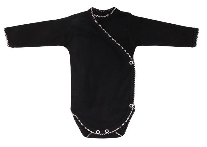 Mamatti Kojenecké body dlouhý rukáv, zapínání bokem,  Bow  - černé