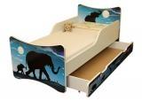 Dětská postel se zábranou a šuplík/y Afrika - 180x80 cm