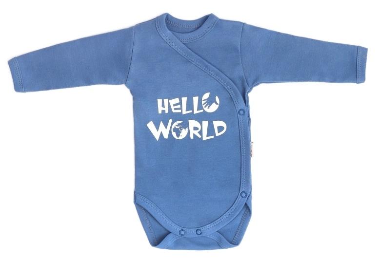 Mamatti Kojenecké body dlouhý rukáv, zapínání bokem, World - modré