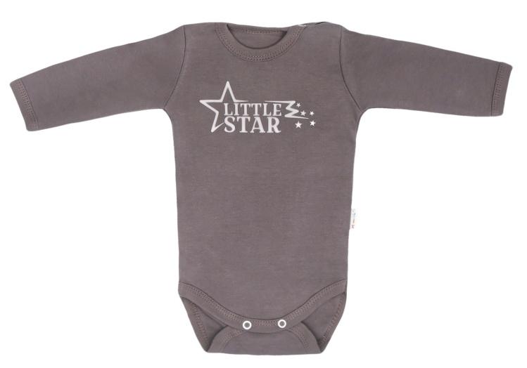 Mamatti Kojenecké body s dlouhým rukávem Star - šedé