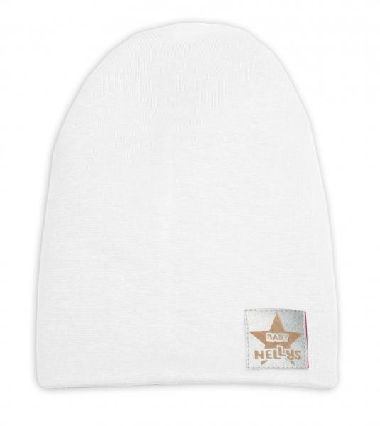 Baby Nellys Hand Made Jarní, podzimní bavlněná čepice - dvouvrstvá, bílá, 44-48 cm, Velikost: 3-7 let