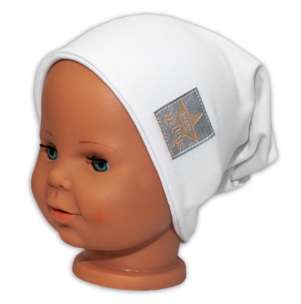 Baby Nellys Dětská bavlněná čepice - dvouvrstvá, bílá, 44-48 cm