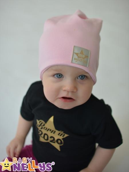 Baby Nellys Dětská bavlněná čepice - dvouvrstvá, sv. růžová, 44-48 cm