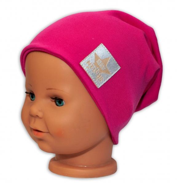 Baby Nellys Dětská bavlněná čepice - dvouvrstvá, tm. růžová