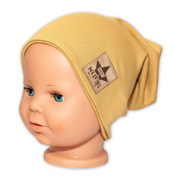 Baby Nellys Dětská bavlněná čepice - dvouvrstvá, hořčicová, 44-48 cm
