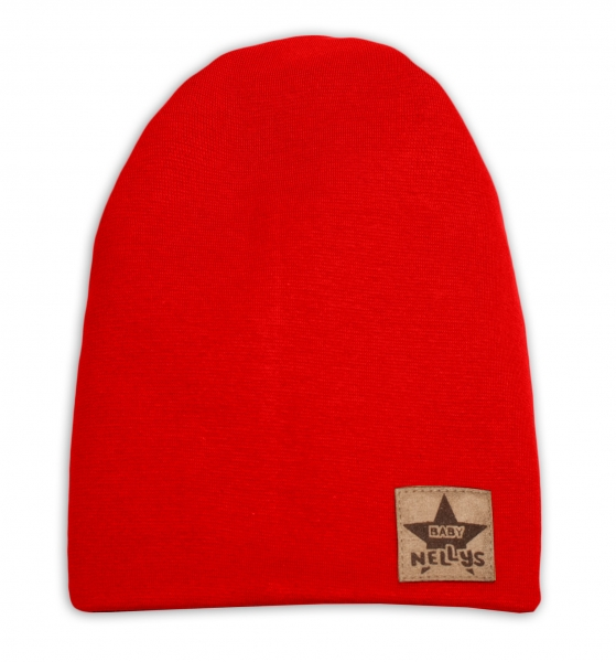 Baby Nellys Hand Made Jarní, podzimní bavlněná čepice - dvouvrstvá, červená, 44-48 cm, Velikost: 3-7 let