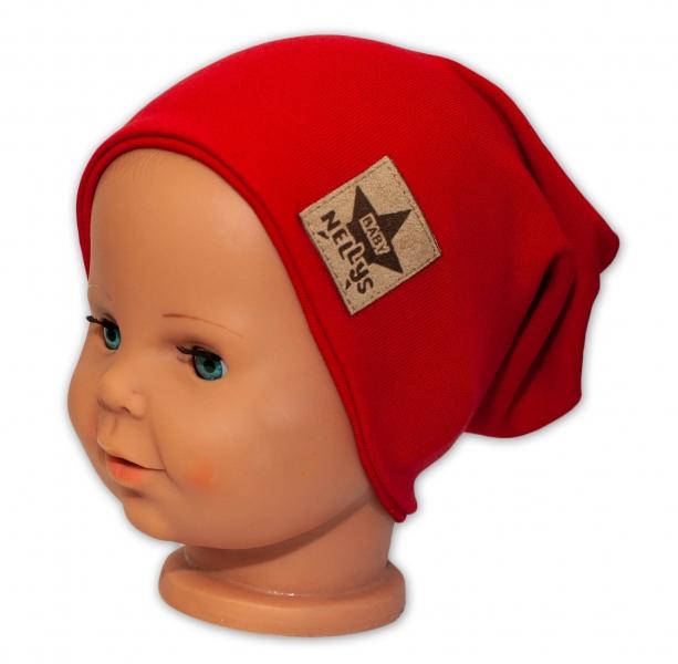 Baby Nellys Dětská bavlněná čepice - dvouvrstvá, červená, 44-48 cm
