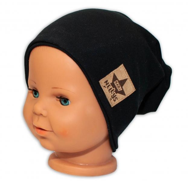 Baby Nellys Dětská bavlněná čepice - dvouvrstvá, černá, 44-48 cm